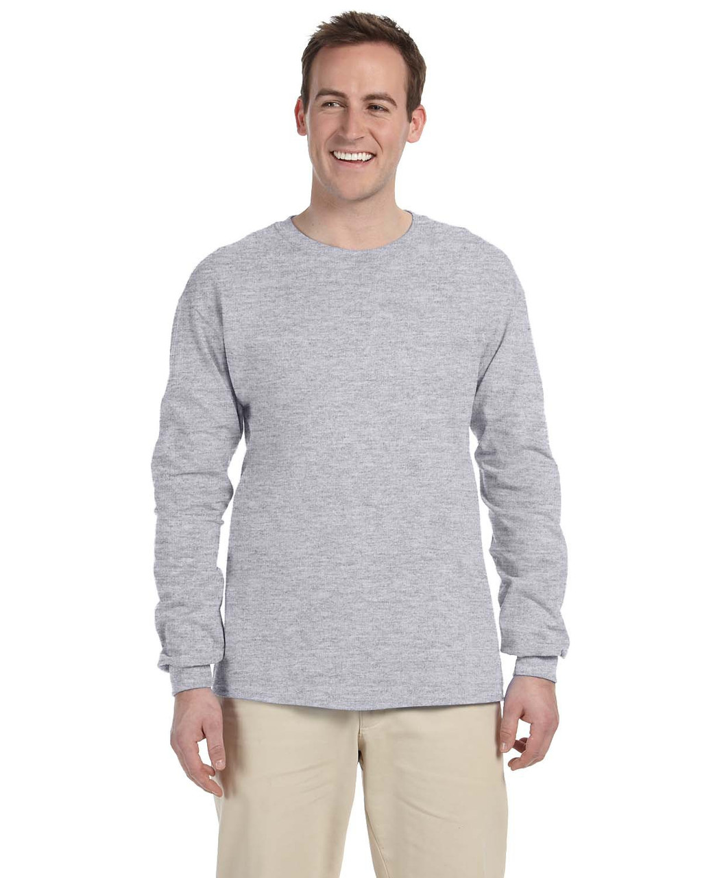 Athletic Heather - 4930 Fruit of the Loom 100% Heavy Cotton HD® Long-Sleeve T-Shirt | Blankclothing.ca