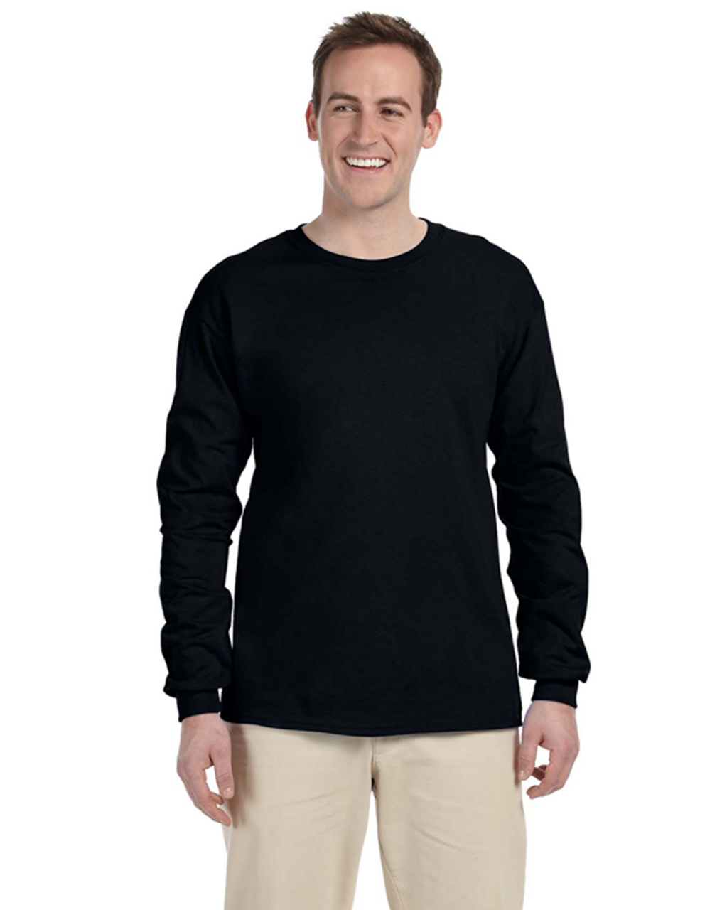 Black - 4930 Fruit of the Loom 100% Heavy Cotton HD® Long-Sleeve T-Shirt | Blankclothing.ca