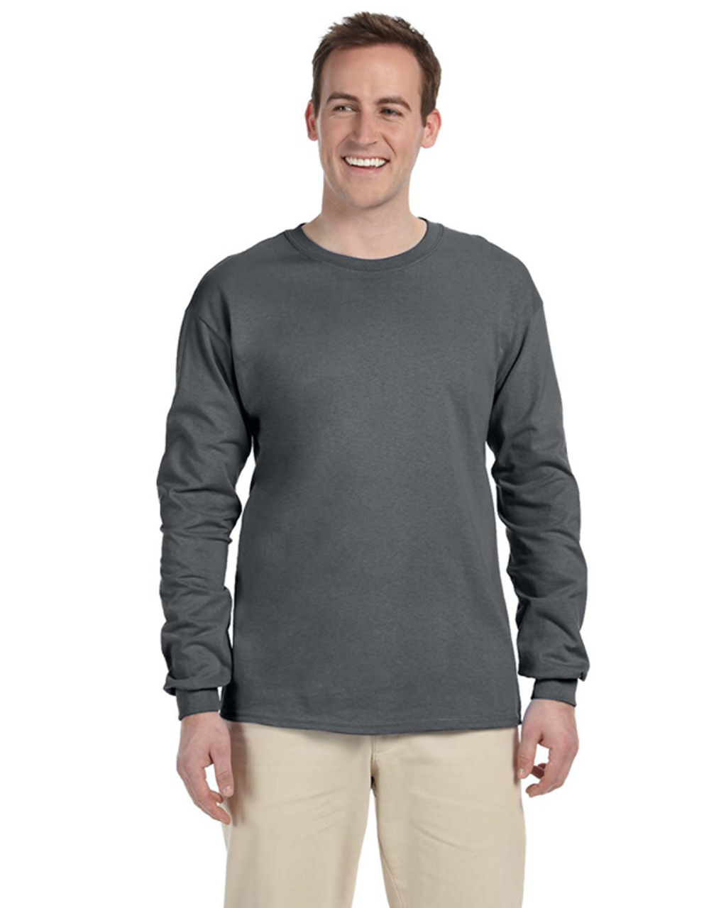 Charcoal Grey - 4930 Fruit of the Loom 100% Heavy Cotton HD® Long-Sleeve T-Shirt | Blankclothing.ca