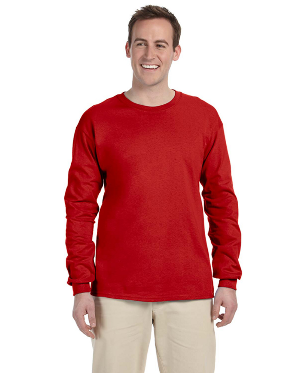 True Red - 4930 Fruit of the Loom 100% Heavy Cotton HD® Long-Sleeve T-Shirt | Blankclothing.ca