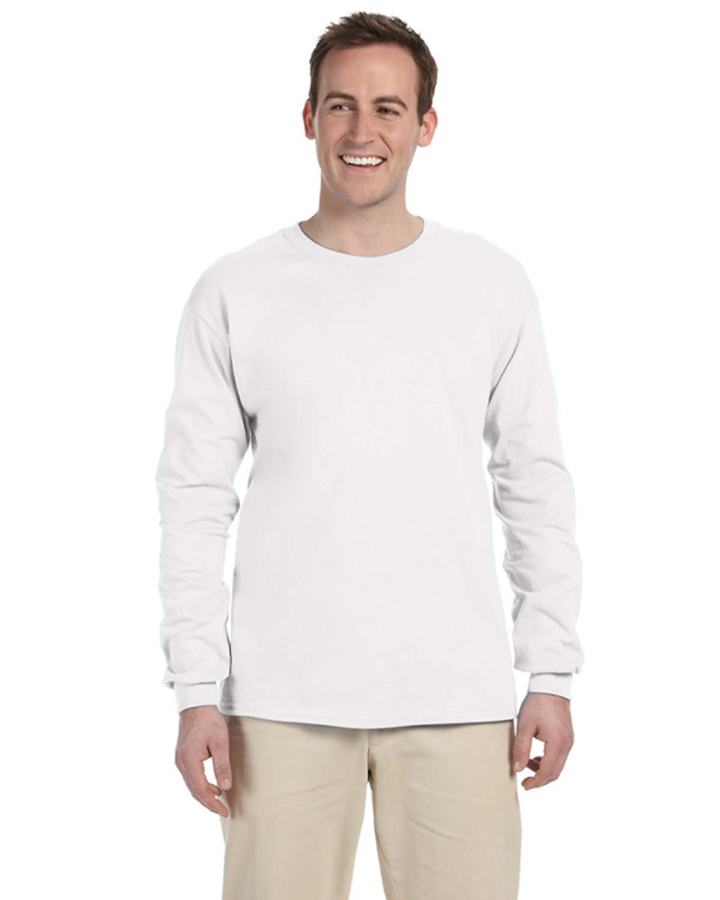 White - 4930 Fruit of the Loom 100% Heavy Cotton HD® Long-Sleeve T-Shirt | Blankclothing.ca