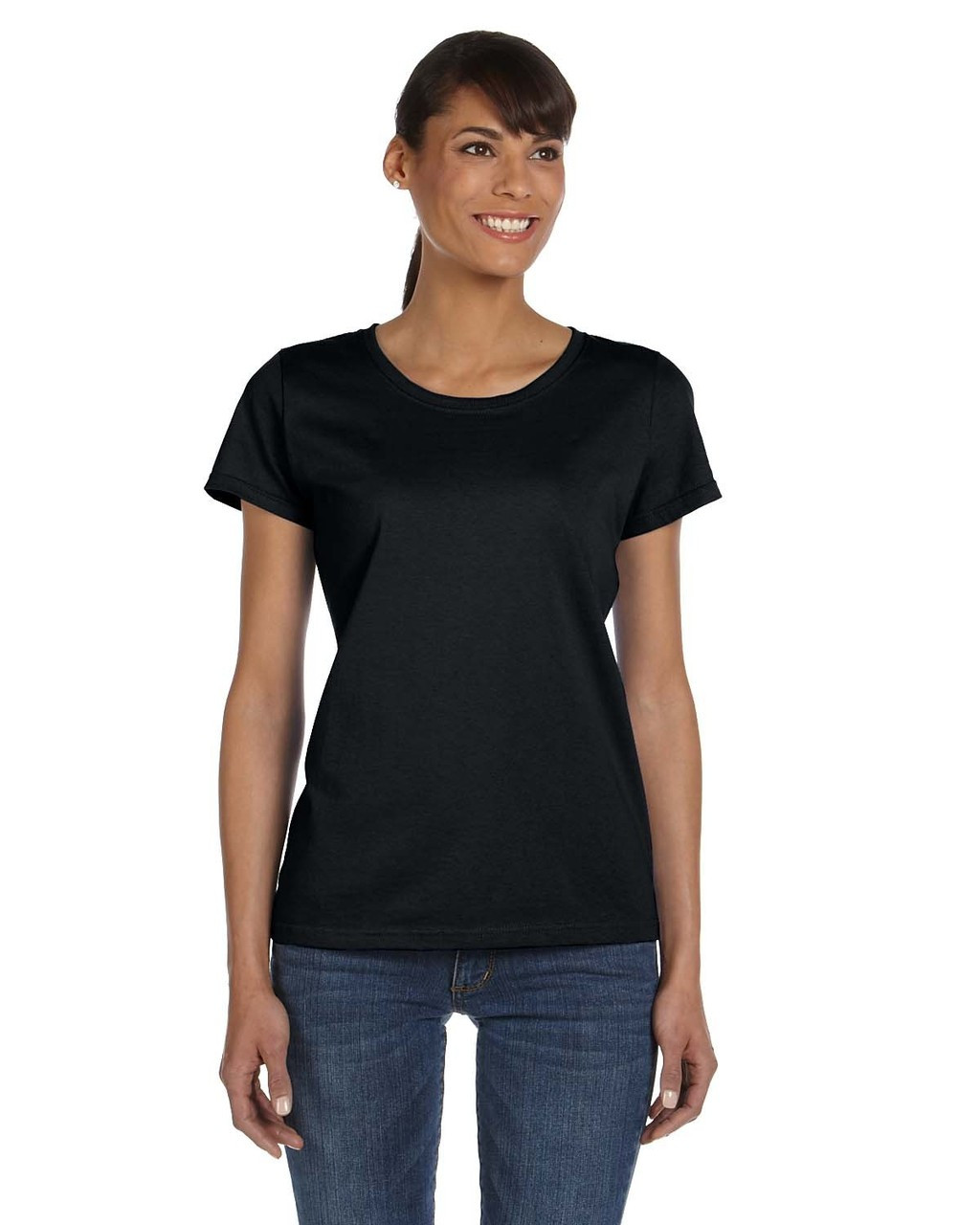 Black - L3930R Fruit of the Loom Ladies' 100% Heavy Cotton HD® T-Shirt | Blankclothing.ca