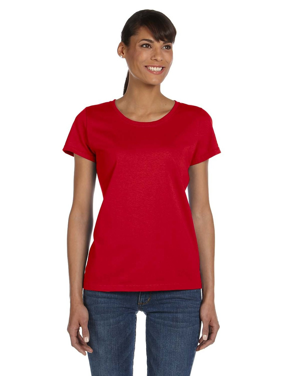 True Red - L3930R Fruit of the Loom Ladies' 100% Heavy Cotton HD® T-Shirt | Blankclothing.ca