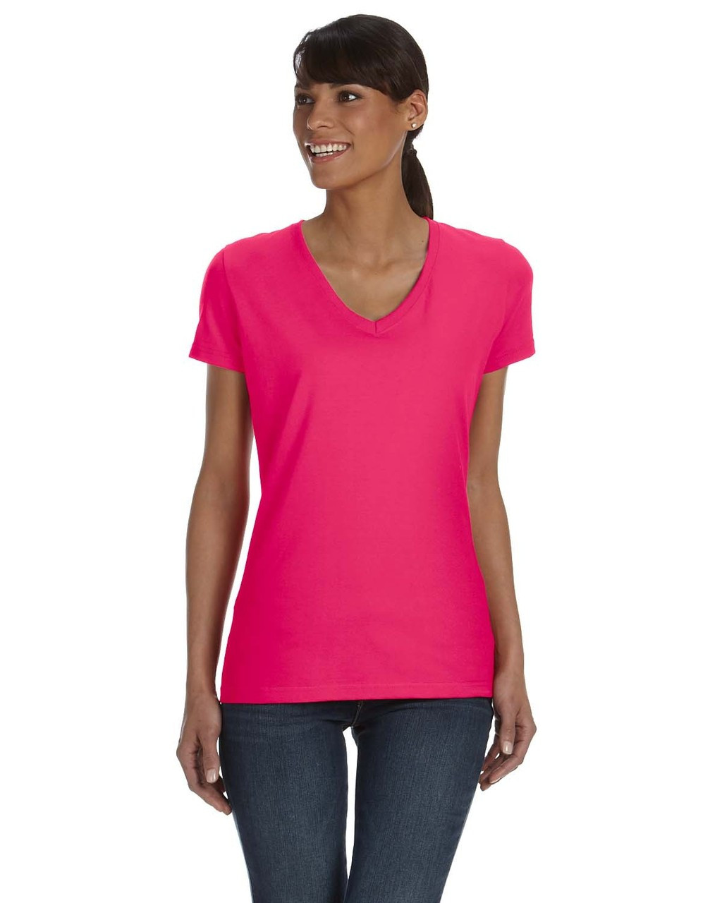 Cyber Pink L39VR Fruit of the Loom Ladies' 100% Heavy Cotton HD® V-Neck T-Shirt   Blankclothing.ca