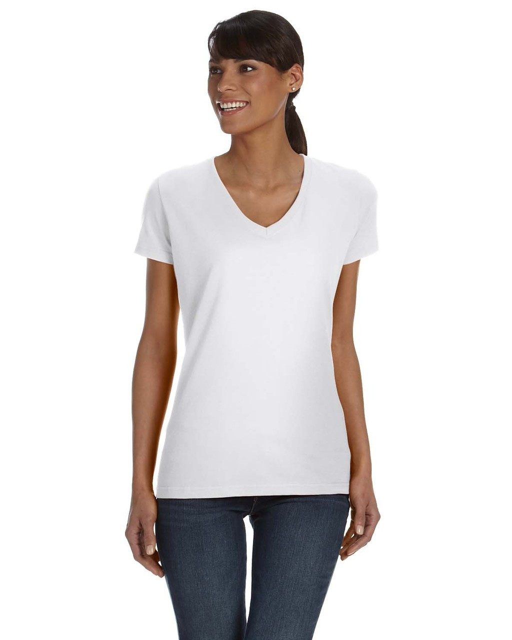 White L39VR Fruit of the Loom Ladies' 100% Heavy Cotton HD® V-Neck T-Shirt   Blankclothing.ca
