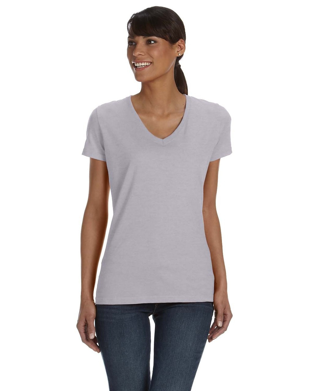 Athletic Heather - L39VR Fruit of the Loom Ladies' 100% Heavy Cotton HD® V-Neck T-Shirt | Blankclothing.ca