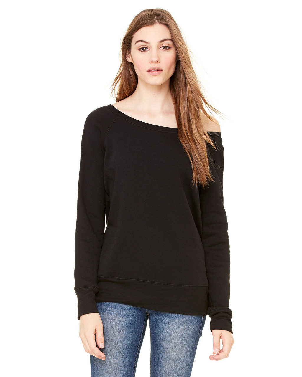 Black - 7501 Bella+Canvas Fleece Wide Neck Sweatshirt | Blankclothing.ca