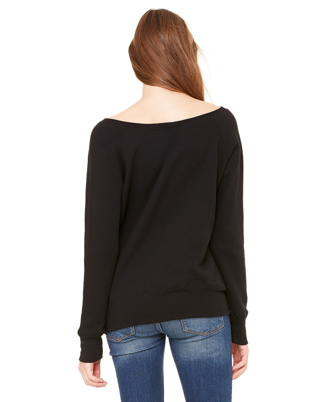 Black, Back - 7501 Bella+Canvas Fleece Wide Neck Sweatshirt | Blankclothing.ca