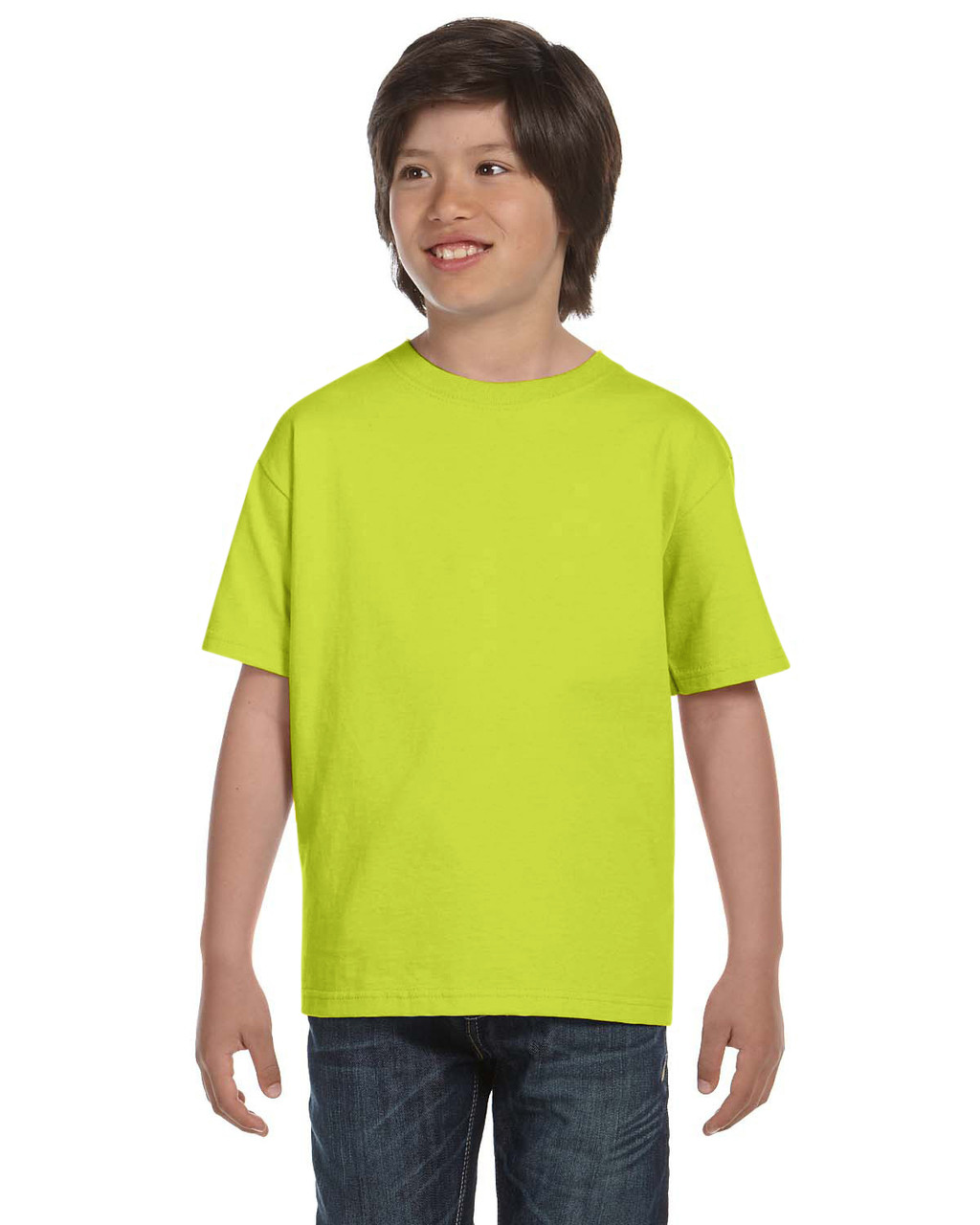 Safety Green - G800B Gildan DryBlend 50/50 Youth T-Shirt | Blankclothing.ca