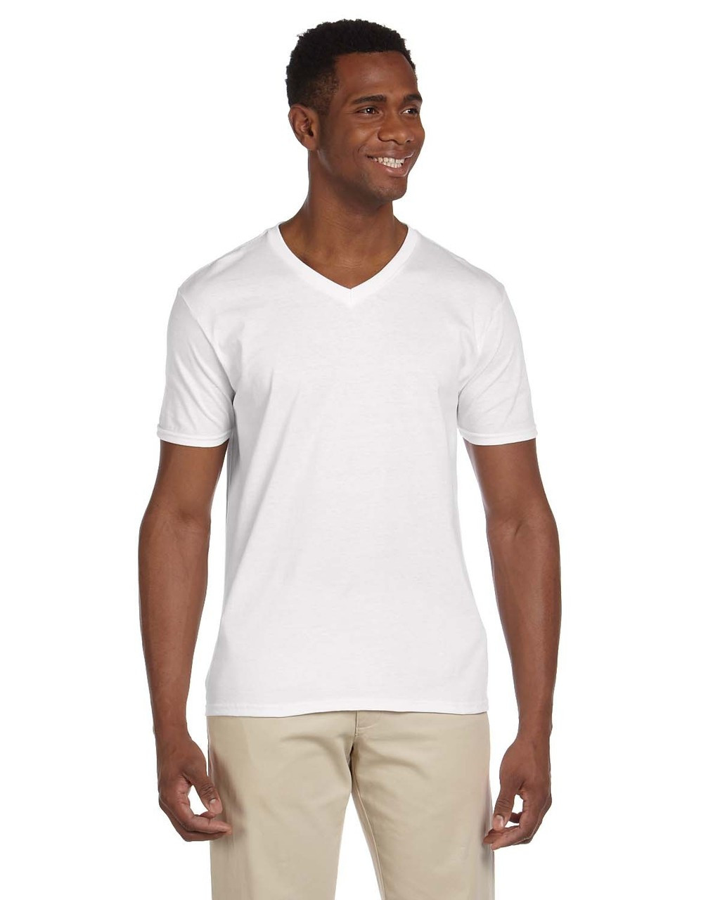 White - G64V Gildan Softstyle V-Neck T-Shirt | Blankclothing.ca