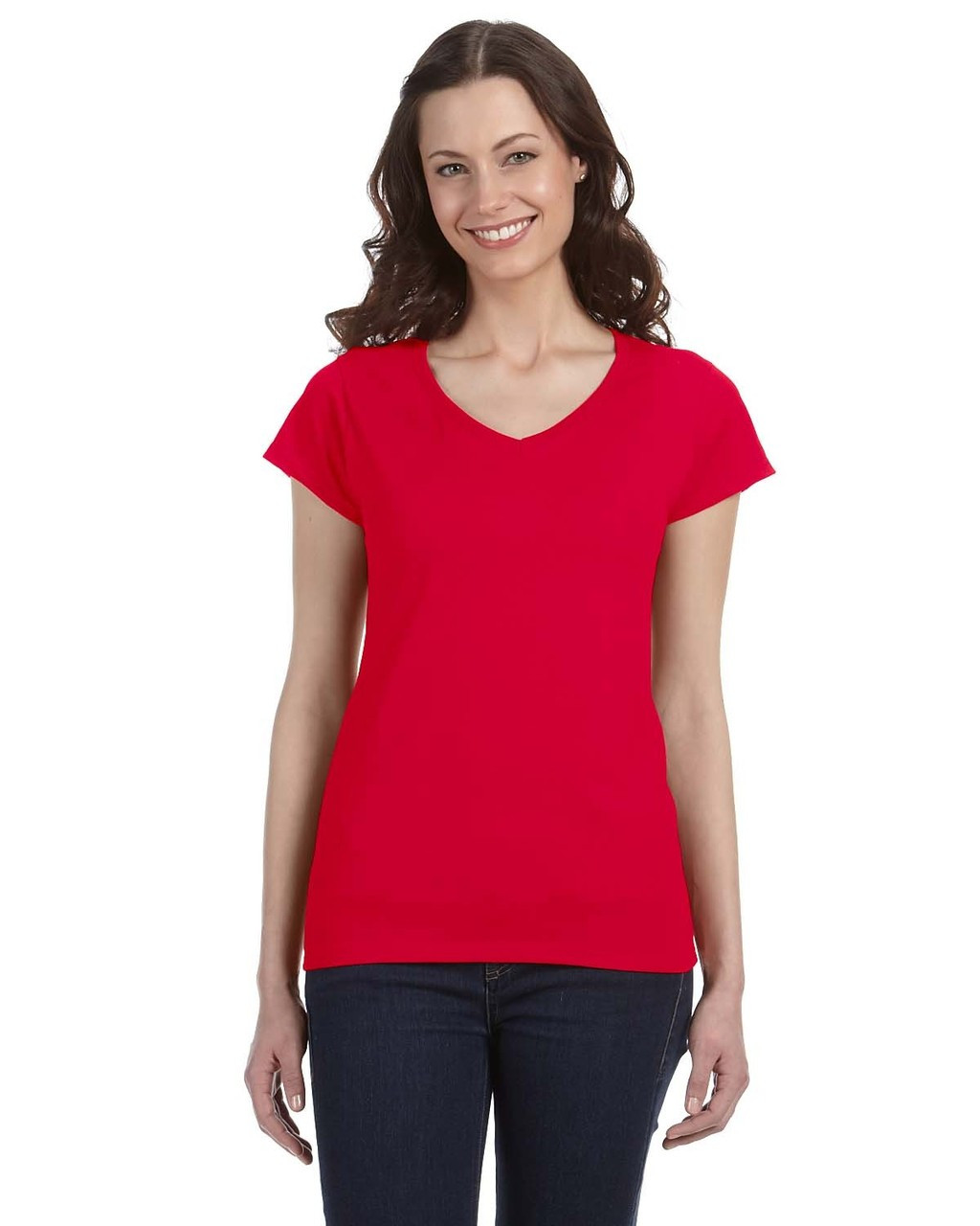 Cherry Red - G64VL SoftStyle Ladies' Junior Fit V-Neck T-Shirt | Blankclothing.ca