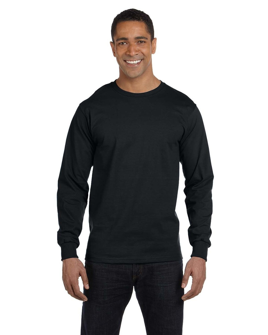 Black - G840 Gildan DryBlend 50/50 Long Sleeve T-Shirt | Blankclothing.ca