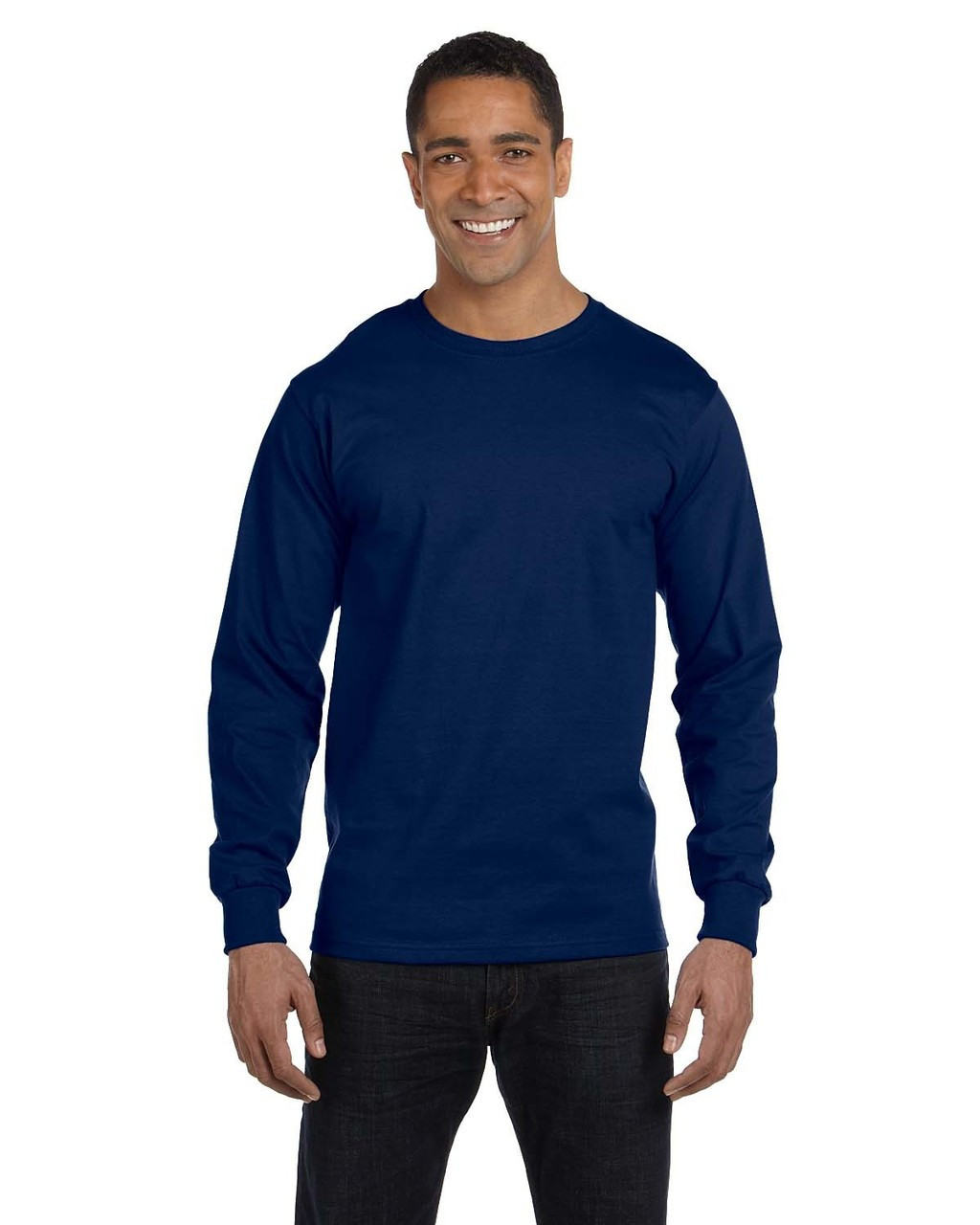 Navy - G840 Gildan DryBlend 50/50 Long Sleeve T-Shirt | Blankclothing.ca