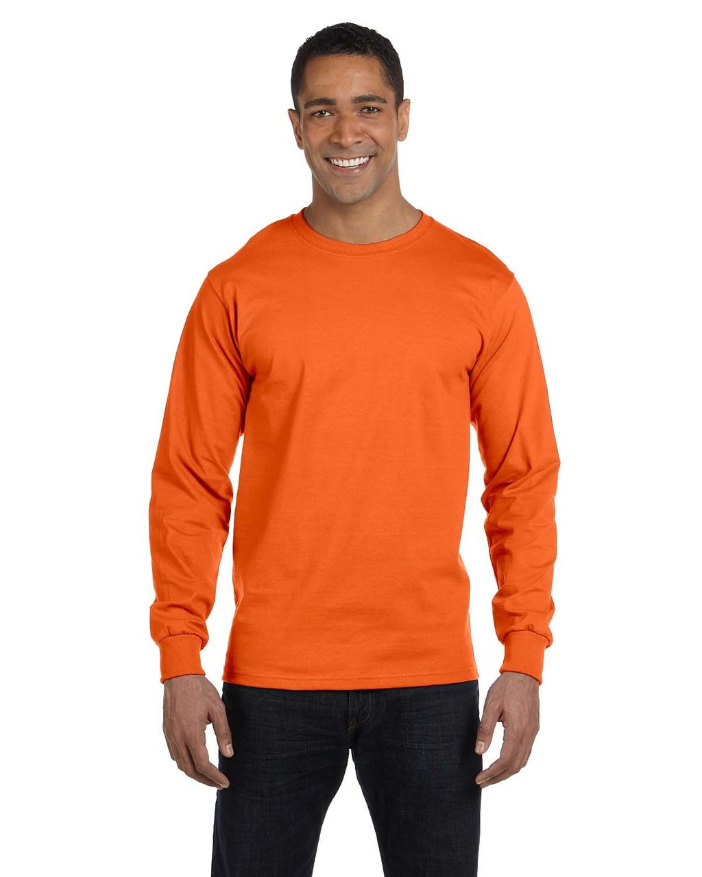 Orange - G840 Gildan DryBlend 50/50 Long Sleeve T-Shirt | Blankclothing.ca