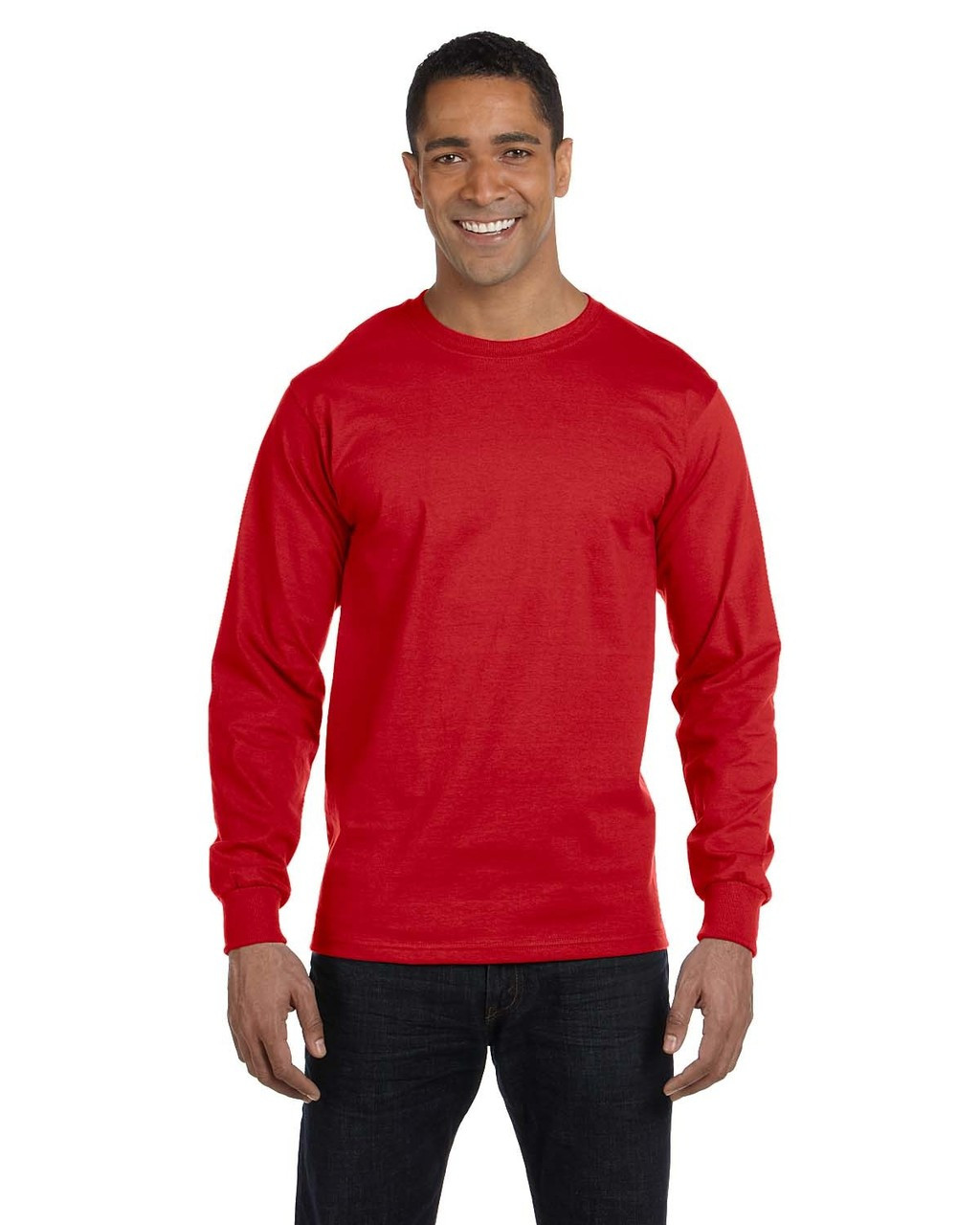 Red - G840 Gildan DryBlend 50/50 Long Sleeve T-Shirt | Blankclothing.ca