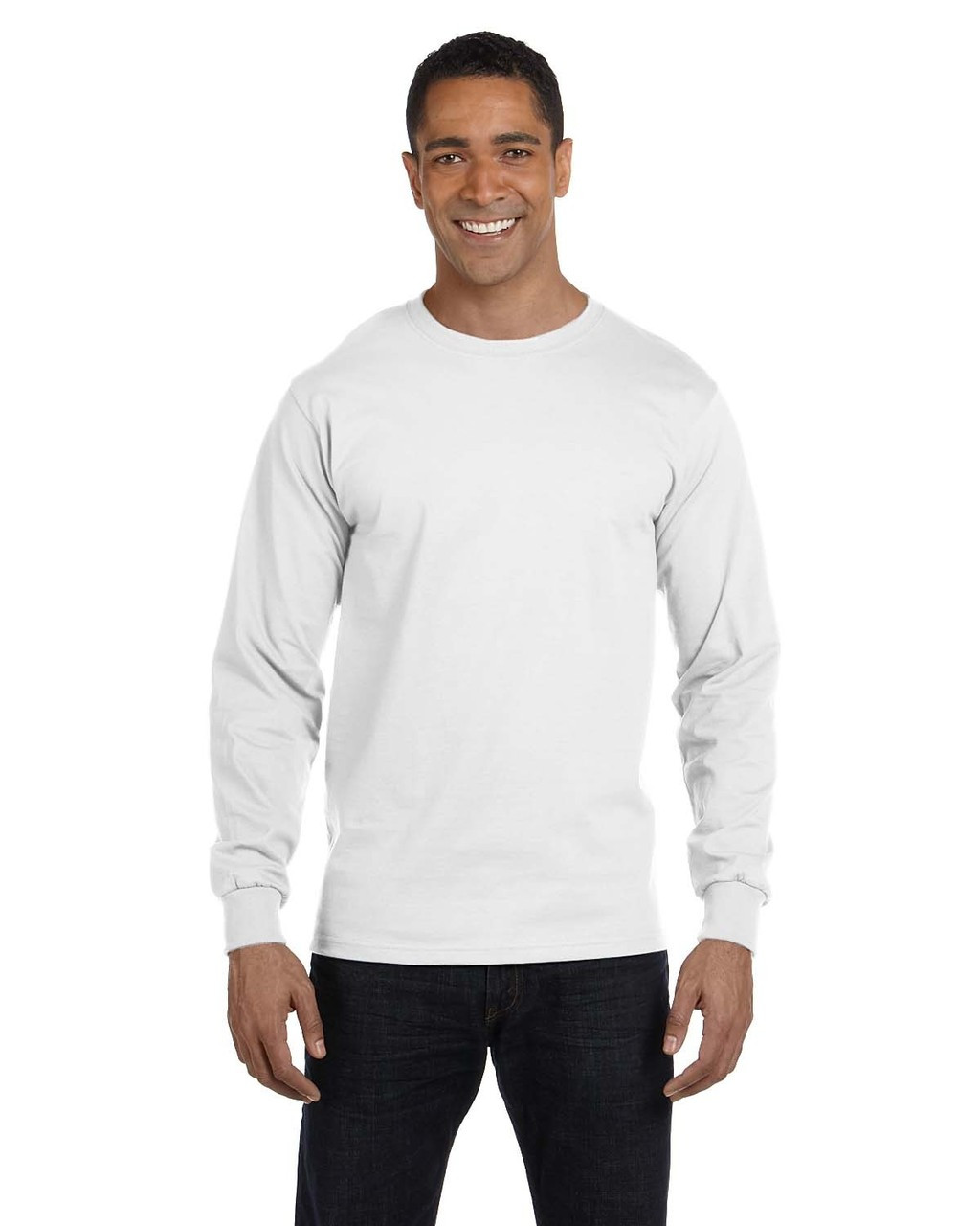 White - G840 Gildan DryBlend 50/50 Long Sleeve T-Shirt | Blankclothing.ca