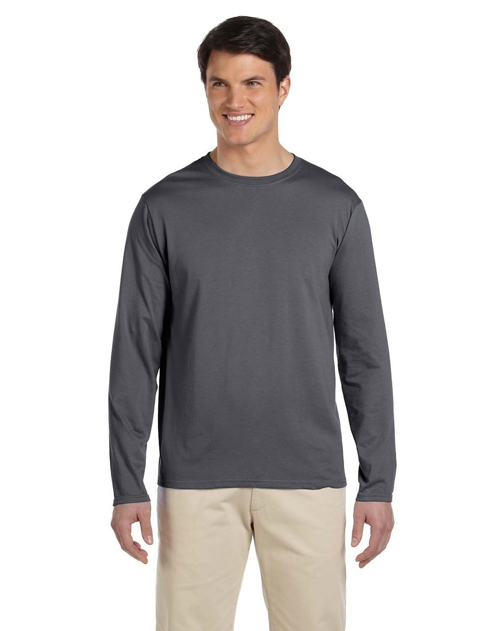 Charcoal - G644 SoftStyle Long Sleeve T-Shirt | Blankclothing.ca