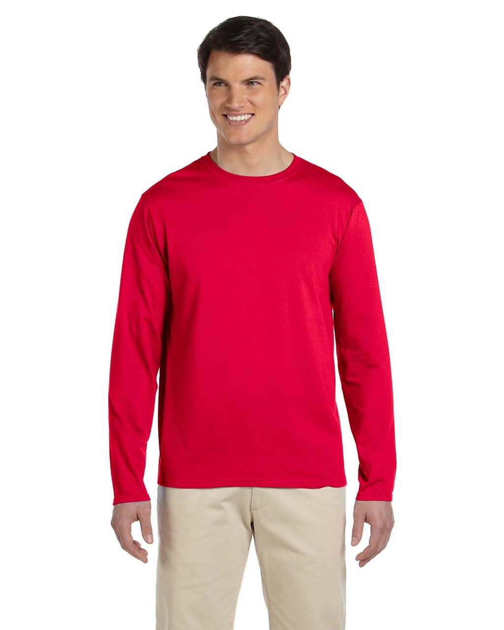 Cherry Red - G644 SoftStyle Long Sleeve T-Shirt | Blankclothing.ca