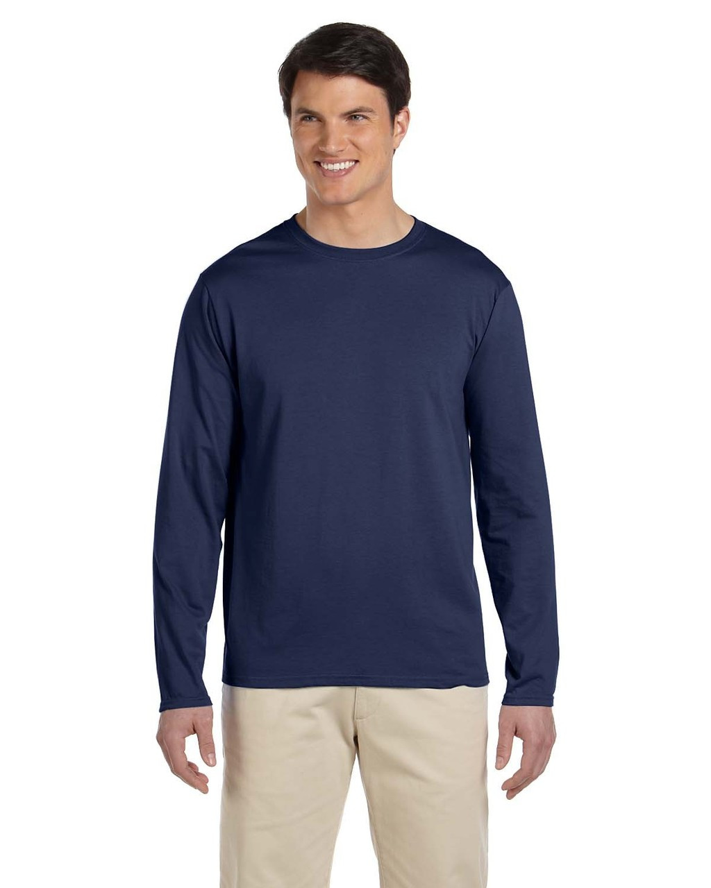 Navy - G644 SoftStyle Long Sleeve T-Shirt | Blankclothing.ca