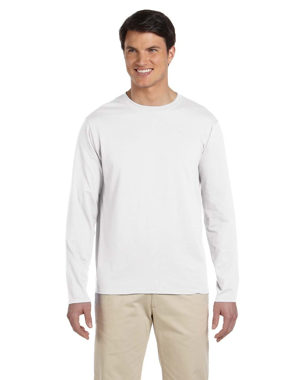 White - G644 SoftStyle Long Sleeve T-Shirt | Blankclothing.ca