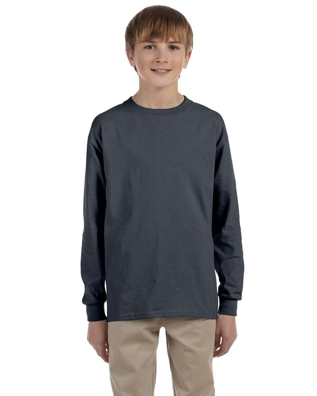 Charcoal - G240B Ultra Cotton Youth Long Sleeve T-Shirt | Blankclothing.ca
