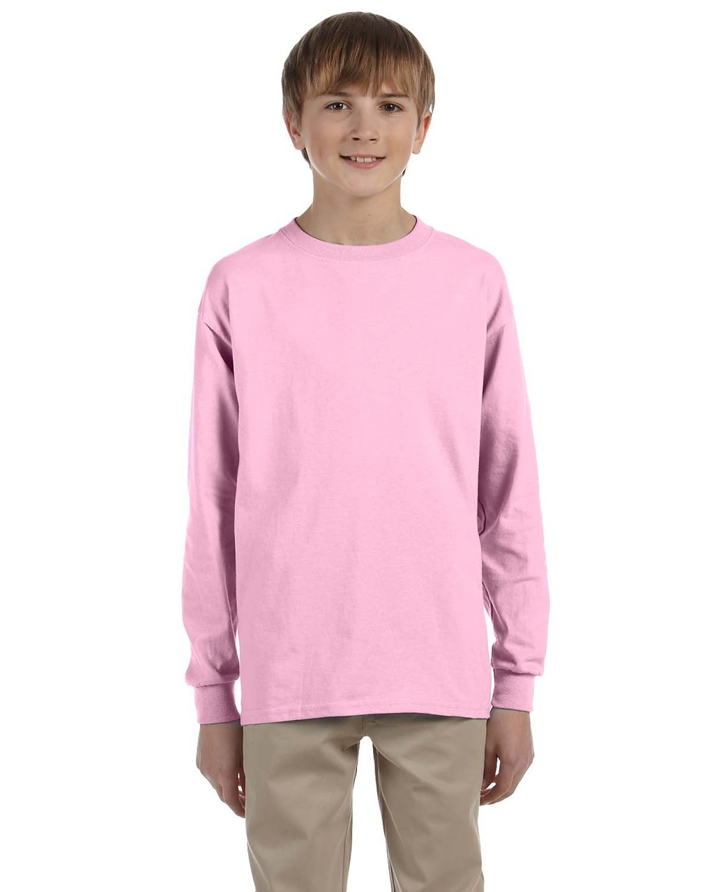 Light Pink - G240B Ultra Cotton Youth Long Sleeve T-Shirt | Blankclothing.ca