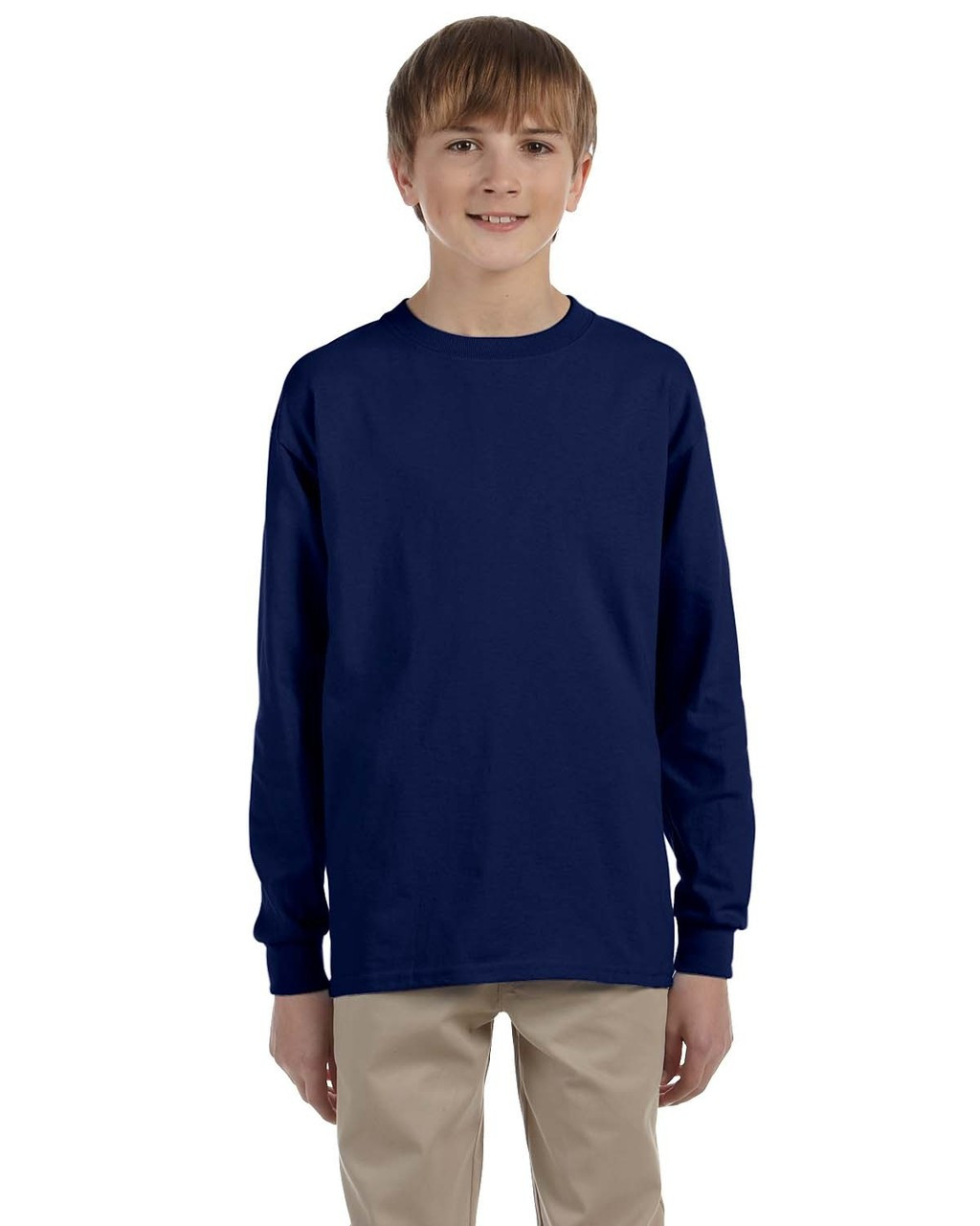 Navy - G240B Ultra Cotton Youth Long Sleeve T-Shirt | Blankclothing.ca