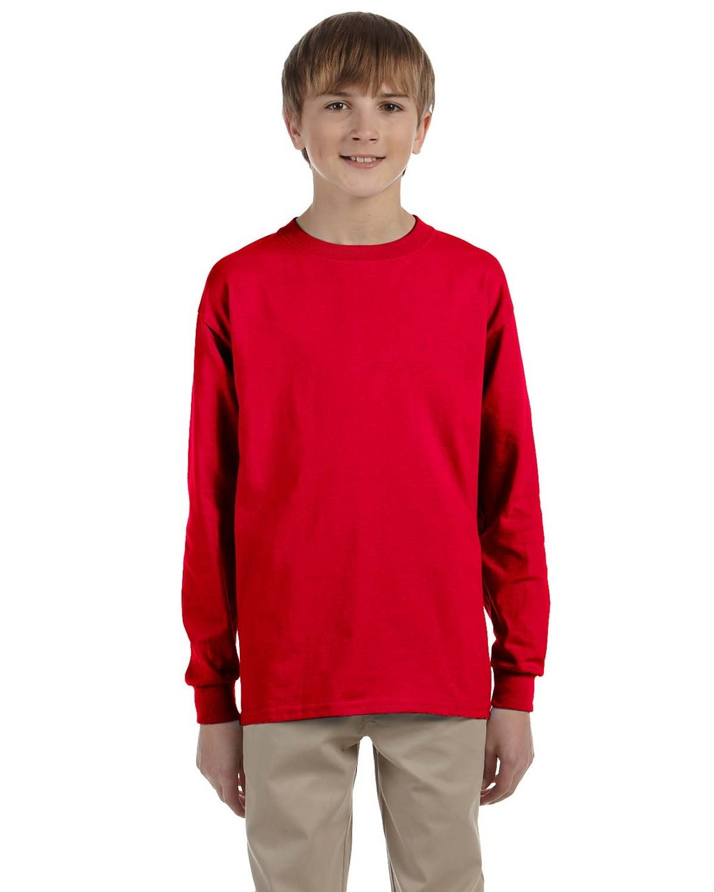 Red - G240B Ultra Cotton Youth Long Sleeve T-Shirt | Blankclothing.ca