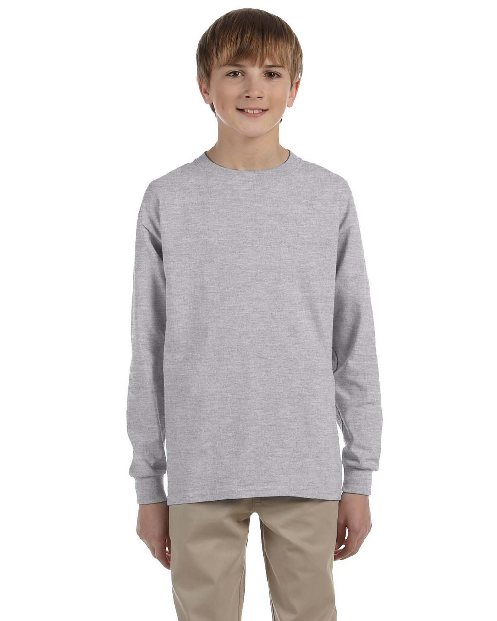 Sport Grey - G240B Ultra Cotton Youth Long Sleeve T-Shirt | Blankclothing.ca