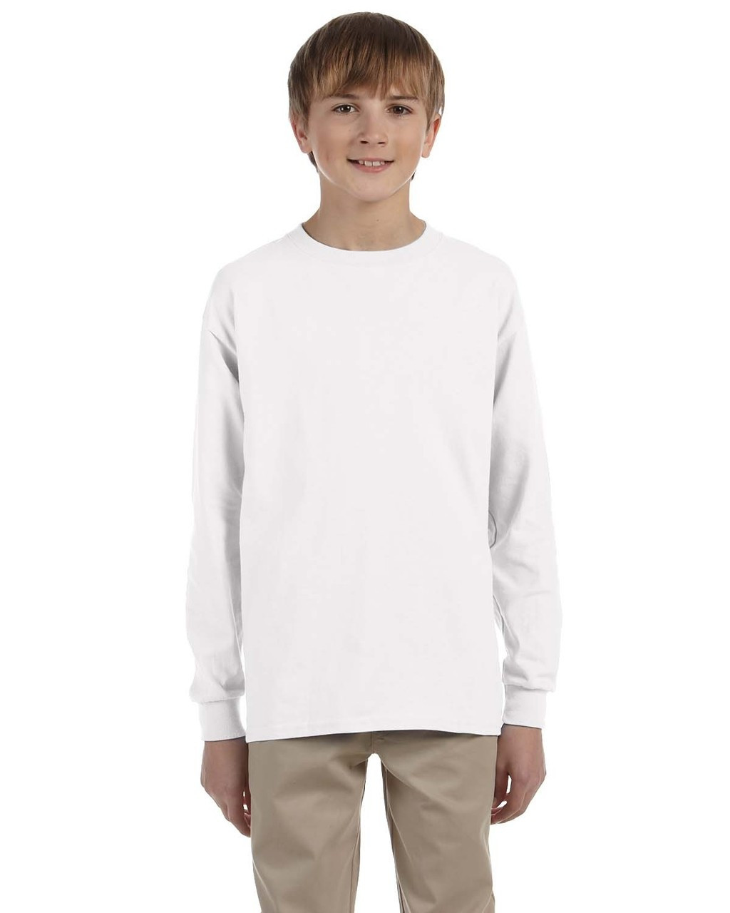 White - G240B Ultra Cotton Youth Long Sleeve T-Shirt | Blankclothing.ca