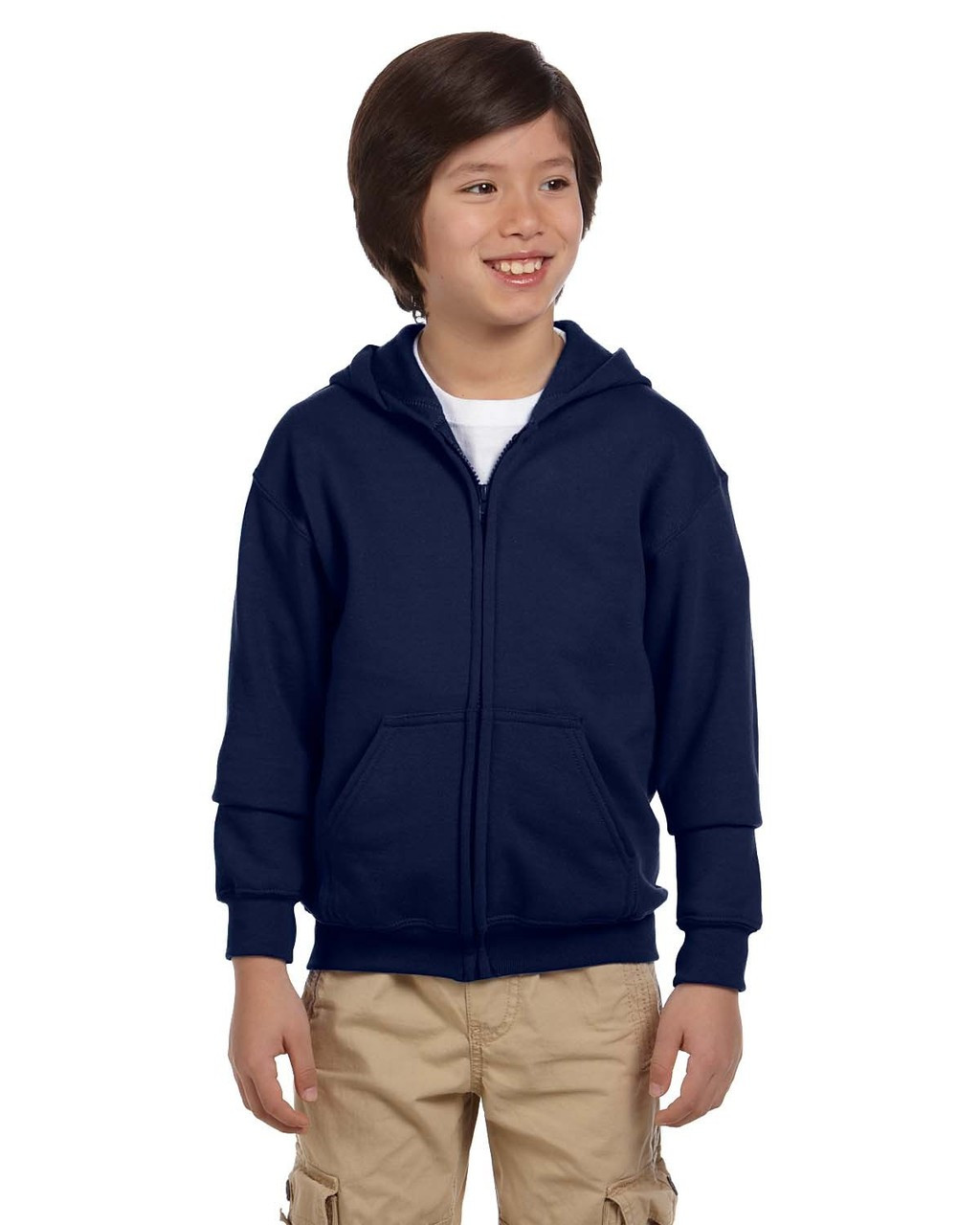 Navy - G186B Gildan Heavy Blend Youth 50/50 Full Zip Hoodie | Blankclothing.ca