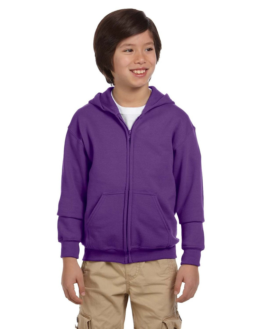 Purple - G186B Gildan Heavy Blend Youth 50/50 Full Zip Hoodie | Blankclothing.ca