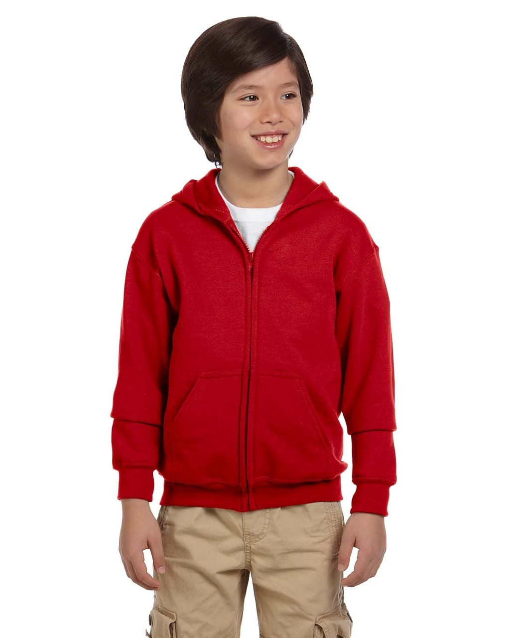 Red - G186B Gildan Heavy Blend Youth 50/50 Full Zip Hoodie | Blankclothing.ca
