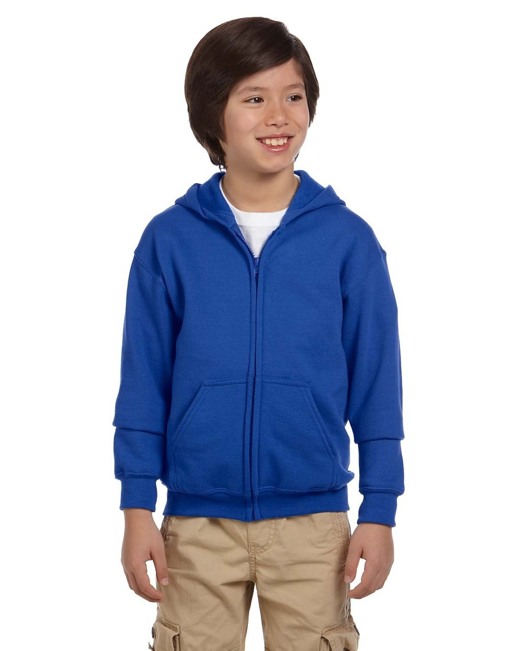 Royal - G186B Gildan Heavy Blend Youth 50/50 Full Zip Hoodie | Blankclothing.ca