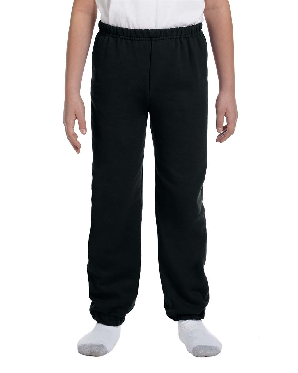 Black - G182B Gildan Heavy Blend Youth 50/50 Sweatpants | Blankclothing.ca