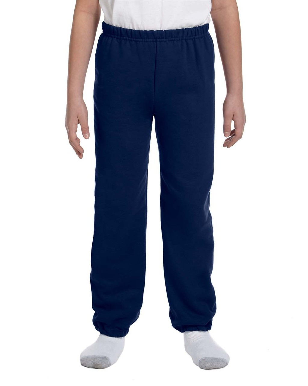 Navy - G182B Gildan Heavy Blend Youth 50/50 Sweatpants | Blankclothing.ca