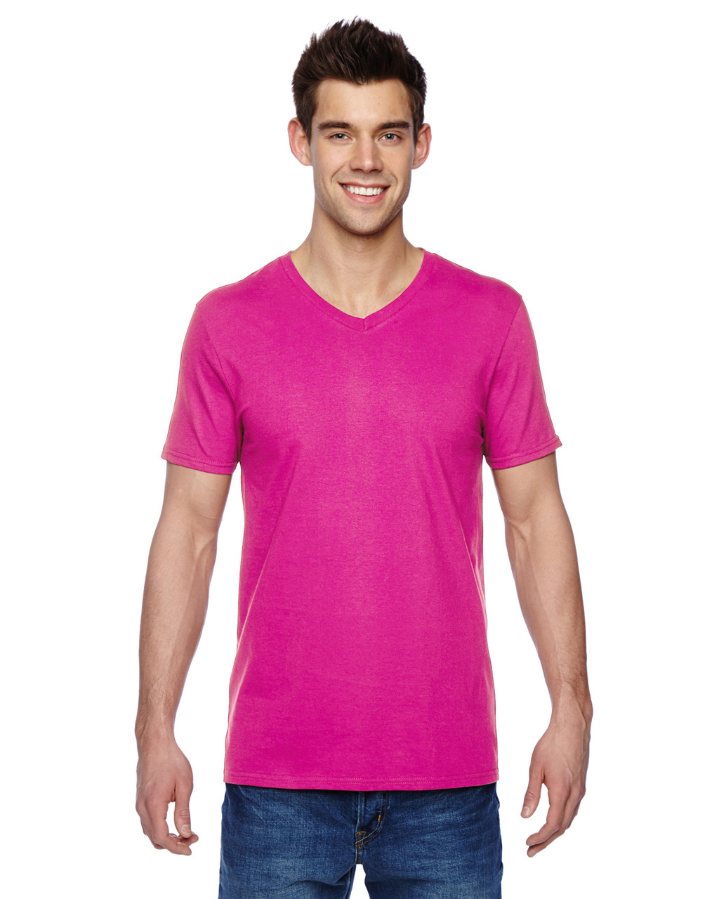 Cyber Pink SFVR Fruit of the Loom 100% Softspun Cotton Jersey V-Neck T-Shirt | Blankclothing.ca