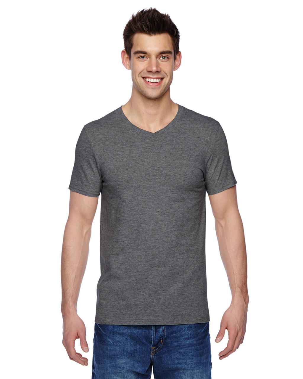 Charcoal SFVR Fruit of the Loom 100% Softspun Cotton Jersey V-Neck T-Shirt | Blankclothing.ca