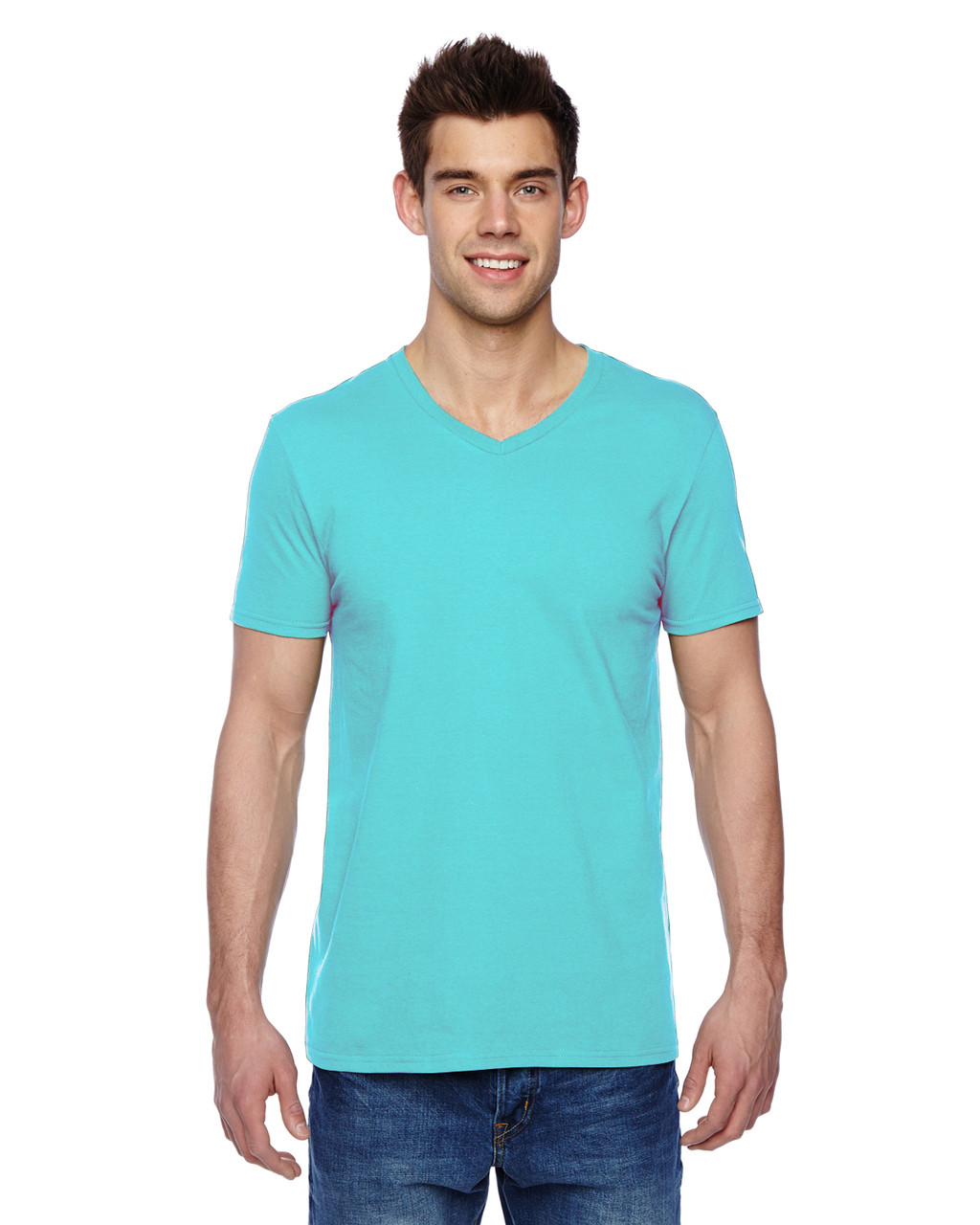 Scuba Blue SFVR Fruit of the Loom 100% Softspun Cotton Jersey V-Neck T-Shirt | Blankclothing.ca