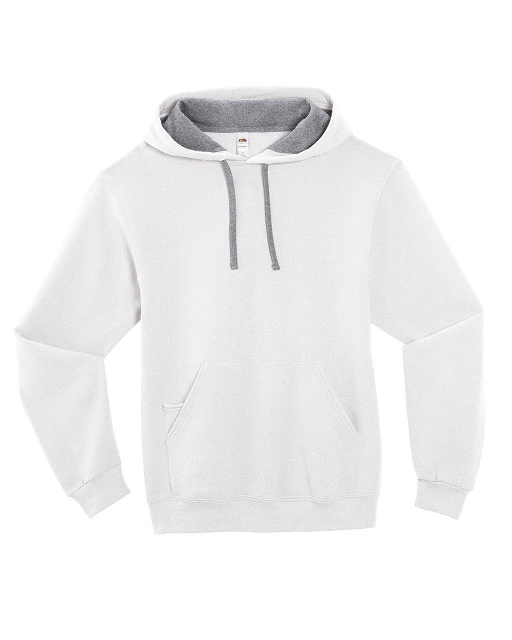 White - SF76R Fruit of the Loom Softspun Hooded Sweatshirt | Blankclothing.ca