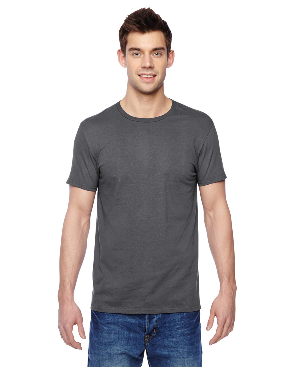 Charcoal Grey - SF45R Fruit of the Loom Softspun Cotton T-Shirt | Blankclothing.ca