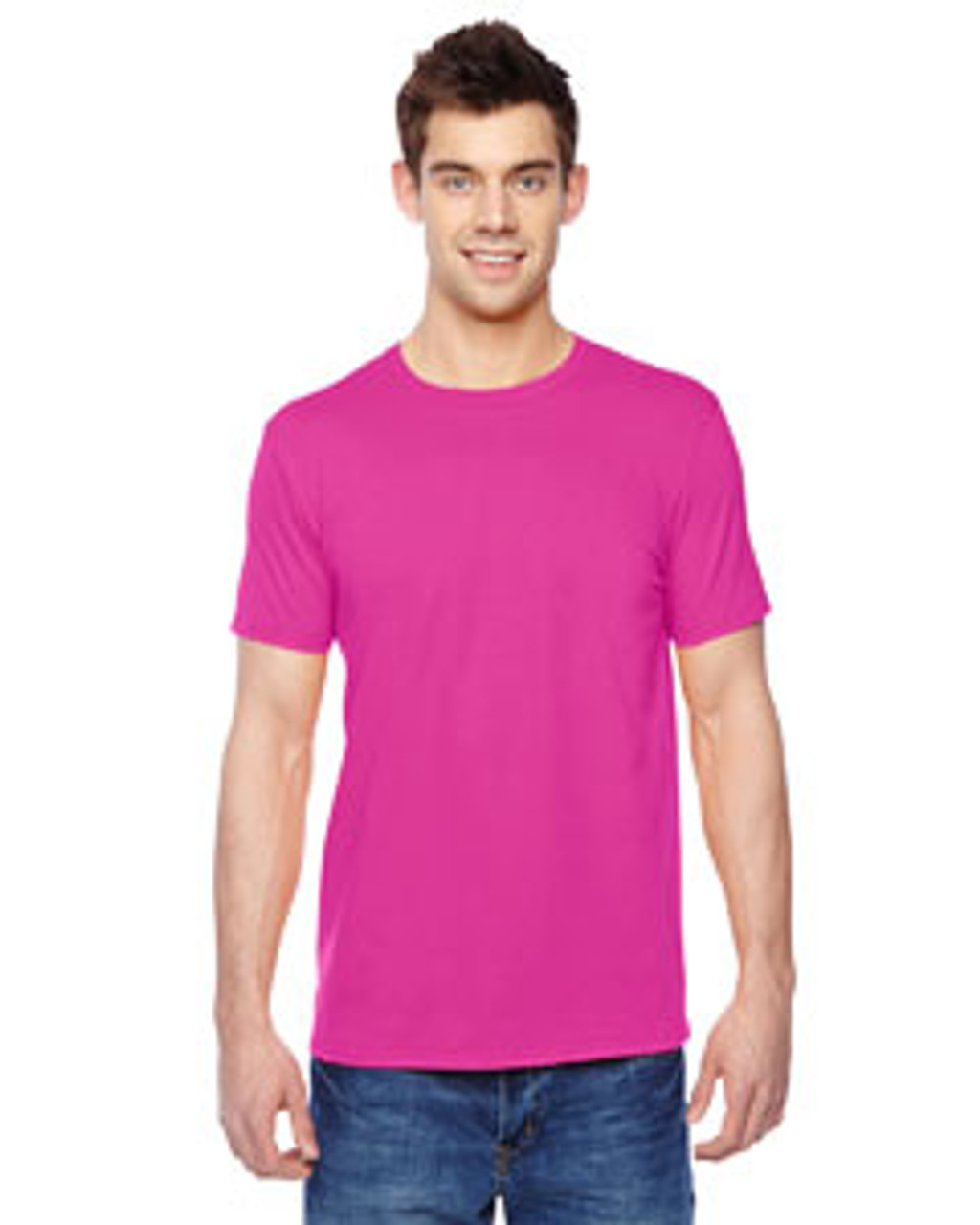 Cyber Pink - SF45R Fruit of the Loom Softspun Cotton T-Shirt | Blankclothing.ca