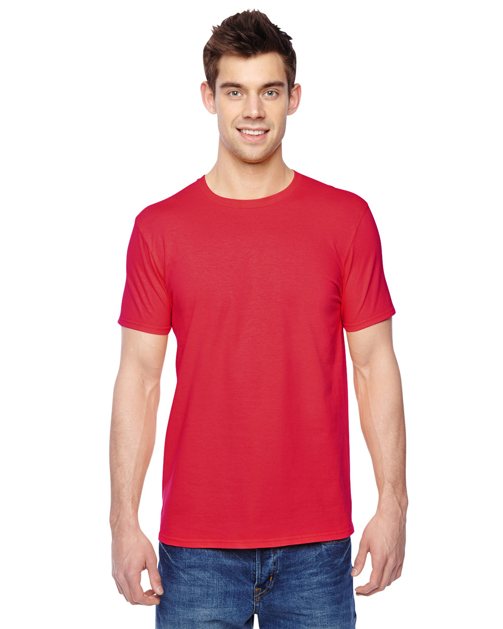 Fiery Red - SF45R Fruit of the Loom Softspun Cotton T-Shirt | Blankclothing.ca