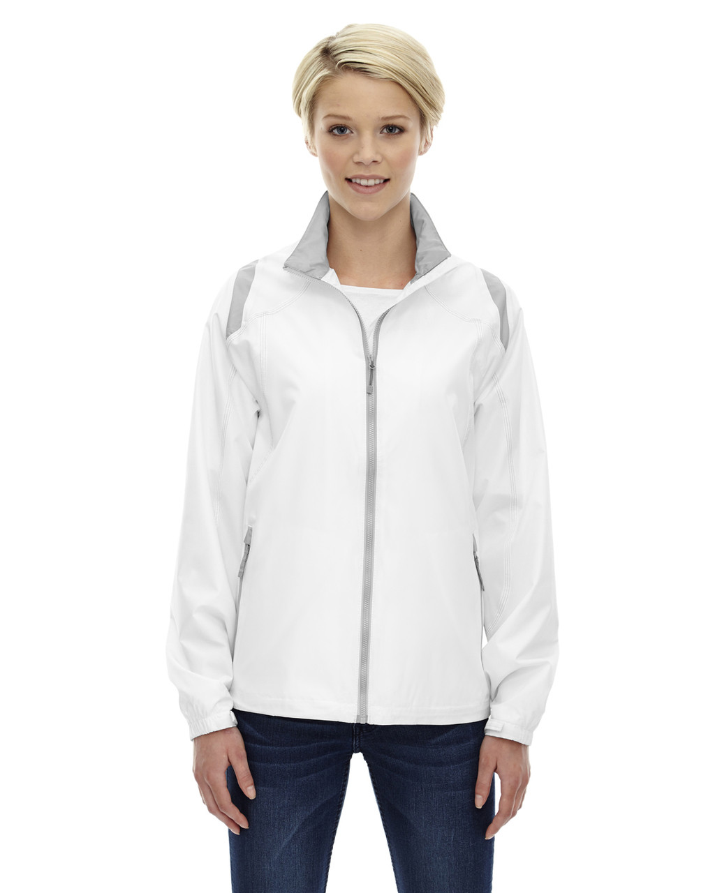 White - 78076 North Ladies' Lightweight Colour-Block Jacket | Blankclothing.ca