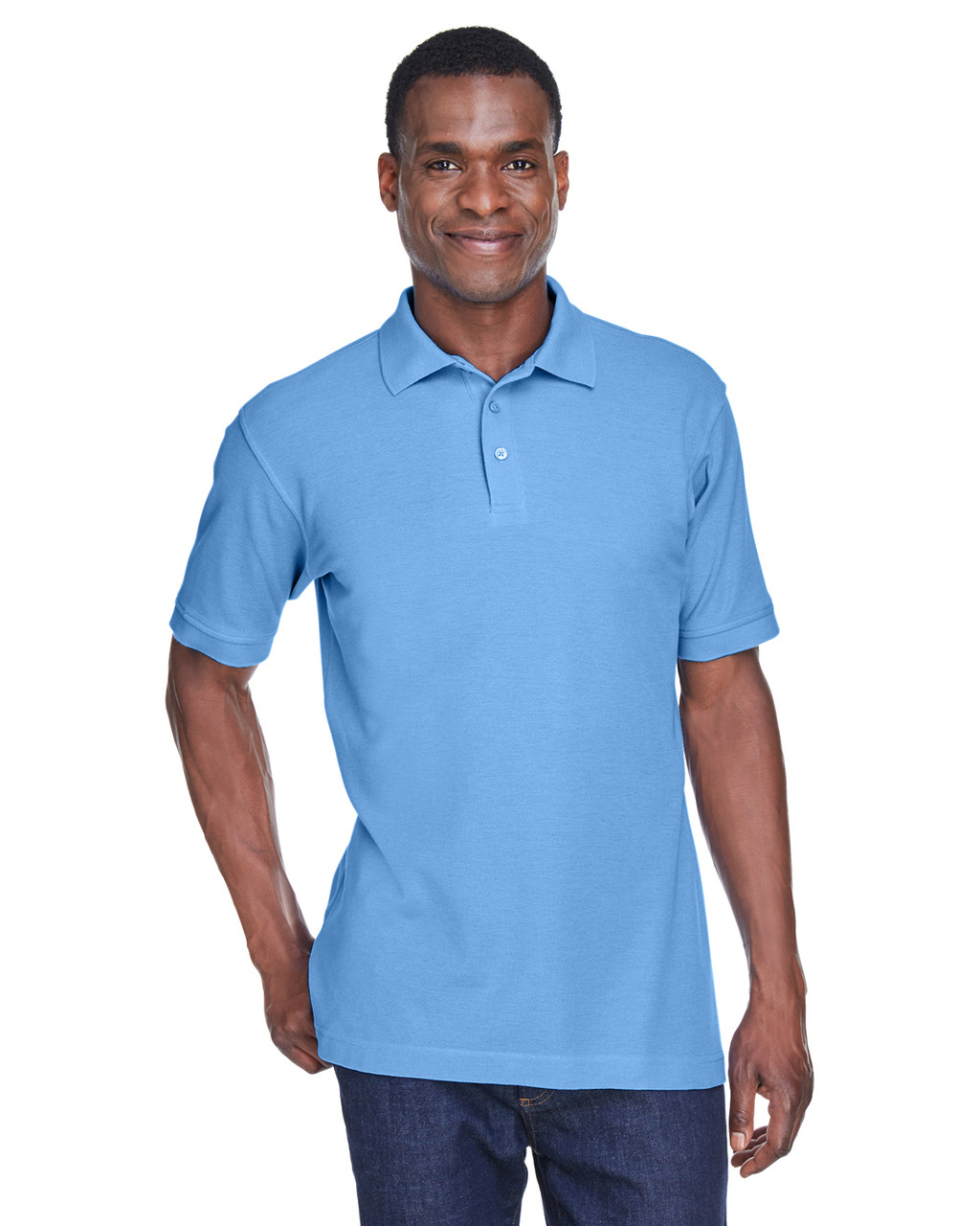 Light College Blue - M280 Harriton Men's Blend-Tek Polo Shirt | BlankClothing.ca