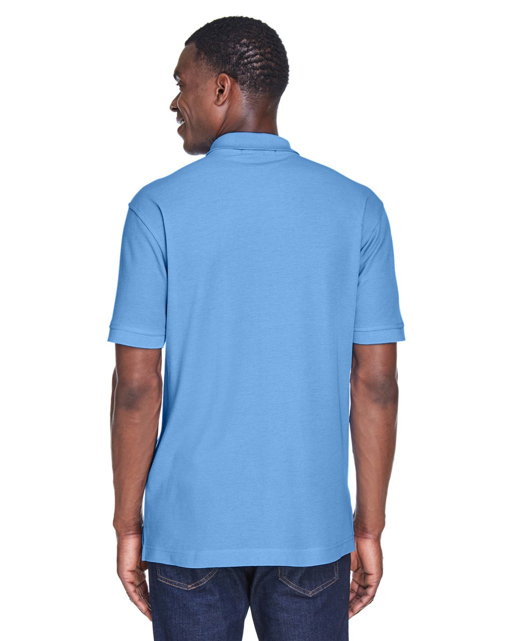 Light College Blue, Back - M280 Harriton Men's Blend-Tek Polo Shirt | BlankClothing.ca