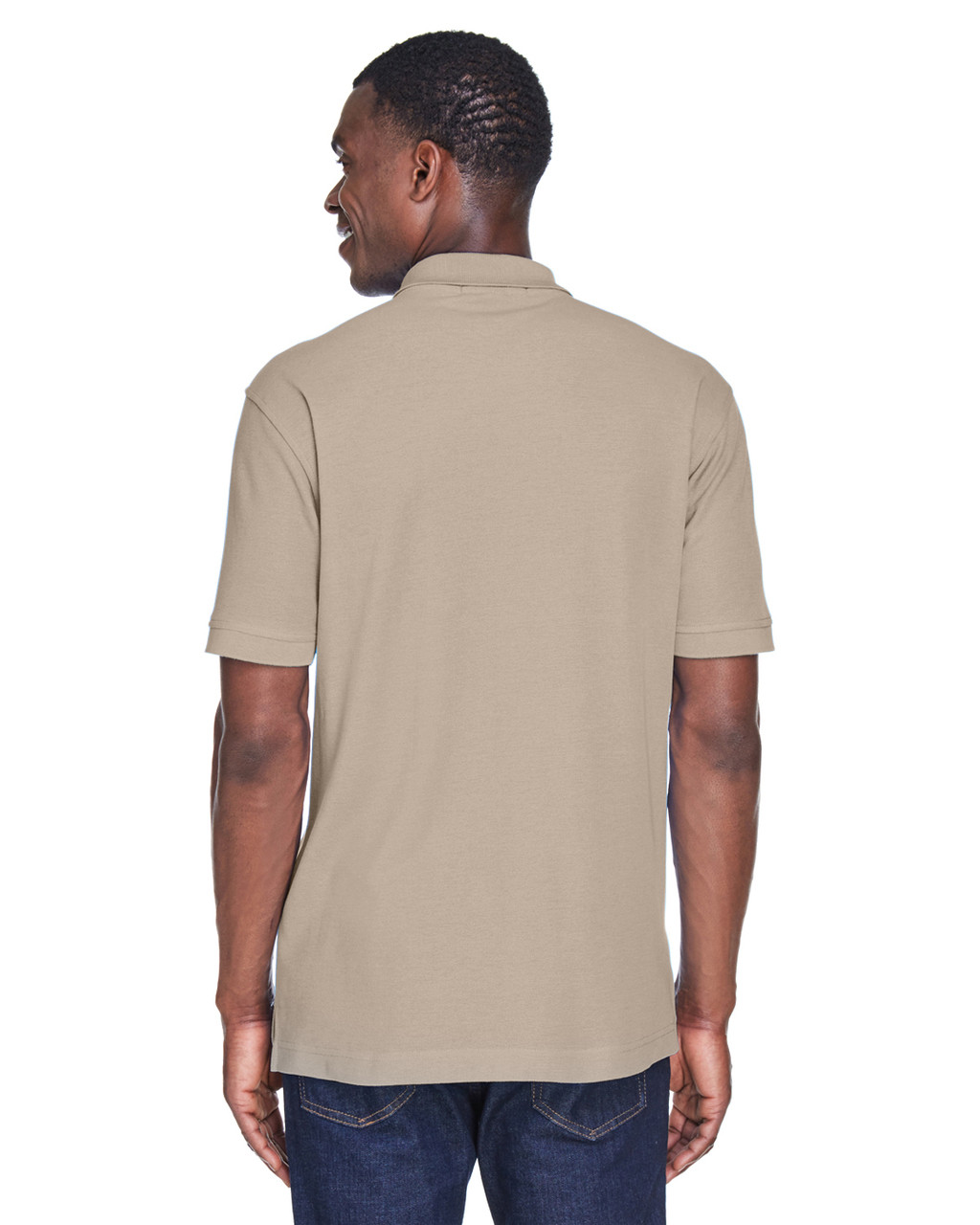 Stone, Back - M280 Harriton Men's Blend-Tek Polo Shirt | BlankClothing.ca