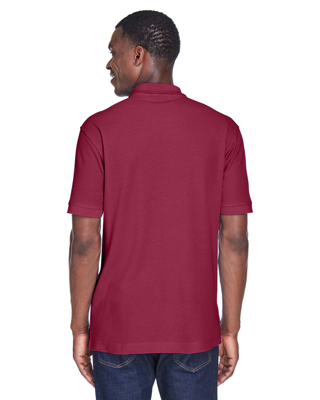 Wine, Back - M280 Harriton Men's Blend-Tek Polo Shirt | BlankClothing.ca