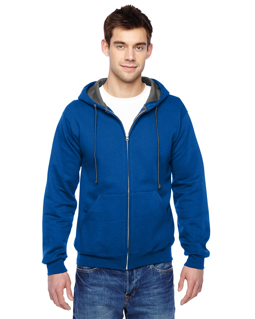 Royal - SF73R Fruit Of The Loom Softspun Full-Zip Hooded Sweatshirt | Blankclothing.ca