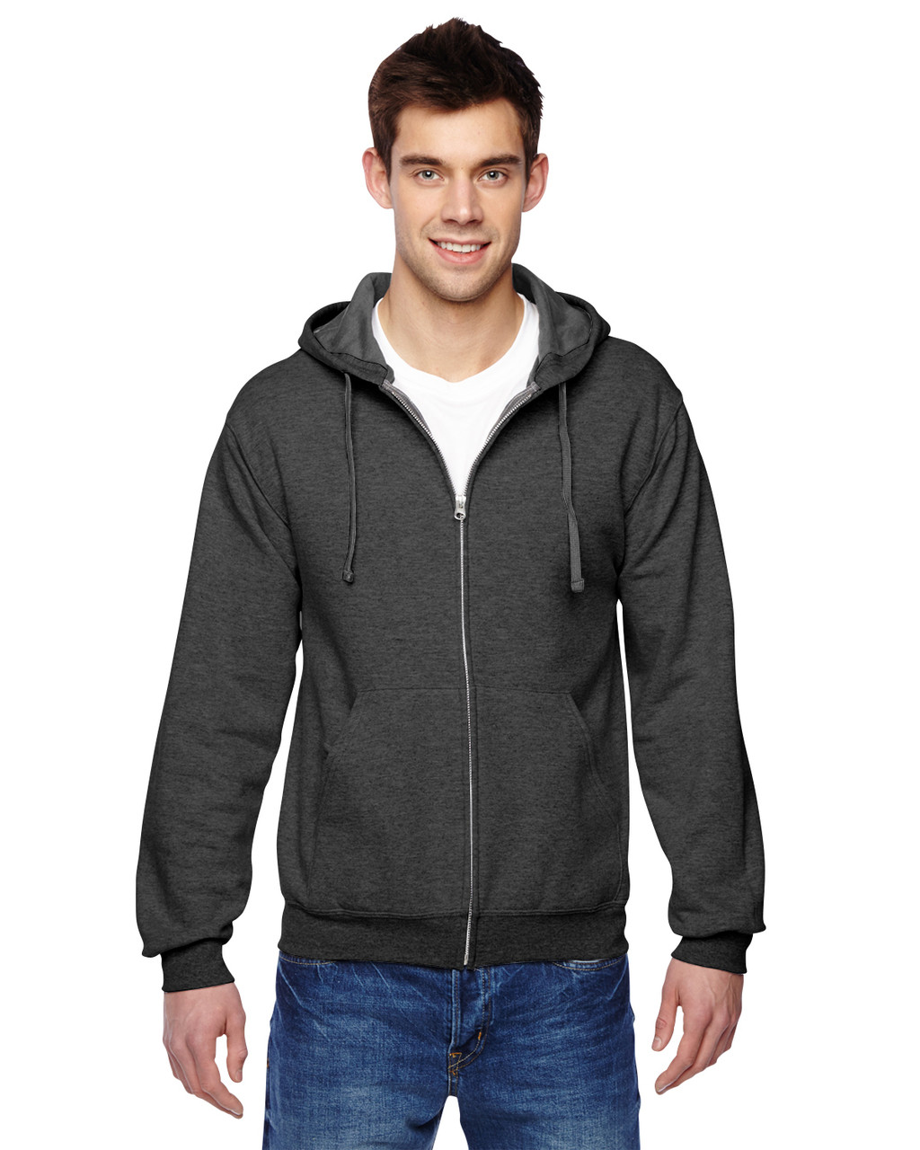 Charcoal Heather - SF73R Fruit Of The Loom Softspun Full-Zip Hooded Sweatshirt | Blankclothing.ca